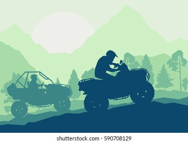 All terrain vehicle driver landscape with trees outdoor activity vector background