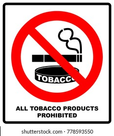 All Tobacco Products Prohibited Icon. No Smoking Sign. Vector illustration isolated on white background. Warning Forbidden Symbol, Black pictogram in red circle