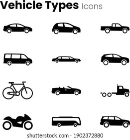 All transport vehicles icon set