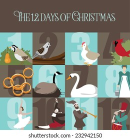 All Twelve days of Christmas EPS 10 vector illustration