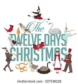 All Twelve days of Christmas EPS 10 vector illustration
