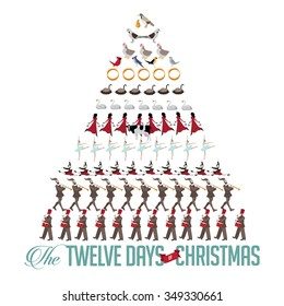 All Twelve days of Christmas tree EPS 10 vector illustration