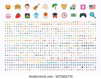 All type of emojis, emoticons, stickers flat vector illustration symbols. Hands, man, woman, workers, fruits, drinks, food, buildings, animals, activity, sport smileys icons set, collection, package
