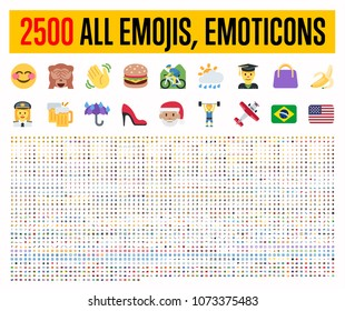 All type of emojis, stickers, emoticons flat vector illustration symbols. All world countries flags, Hands, man, woman, workers, fruit drinks food house, animals, activity, sport icons set, collection - Shutterstock ID 1073375483