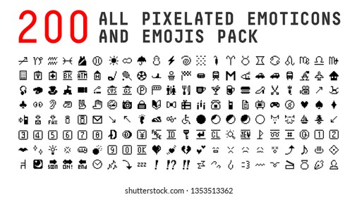 All type of emojis, stickers, emoticons pixelated flat vector illustration. Hands, man, woman, workers, fruit drinks food house, animals, activity, sport icons set, collection
