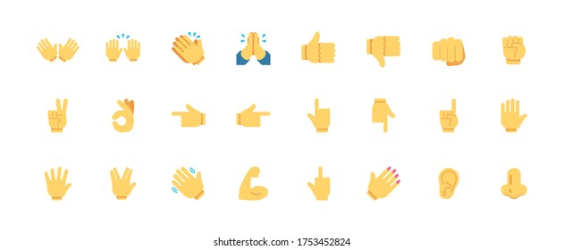 All type of hand emojis, gestures, stickers, emoticons flat vector illustration symbols set, collection. Hands, handshakes, muscle, finger, fist, direction, like, unlike, fingers collection