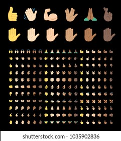 All type of hand emojis in all skin colors, emoticons flat vector illustration symbols set, collection. Hands, handshakes, muscle, finger, fist, direction, like, unlike, fingers on black background