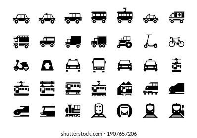 All type of Land Vehicles Vector Illustrations Icons Set. Transportation, Logistics, Delivery, Shipping, Railway, Ambulance, Emergency car symbols flat style vector illustration symbols collection
