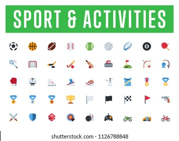 All type of sport icons, symbols, emojis vector illustration flat style activities, emoticons set, collection, group, big package.