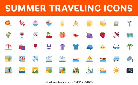 All type of summer travel icons, symbols, emojis vector illustration beach, surfing, activities, fruits, foods, drinks emoticons set, collection pack