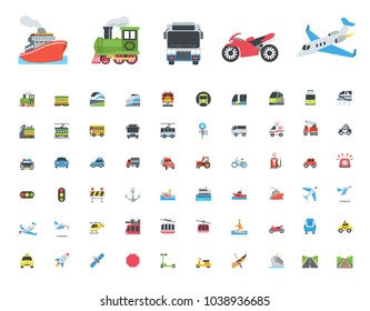All type of Transport, Transportation, Logistics, Delivery, Shipping, Railway, Airways, Ambulance,Emergency car symbols, emojis, emoticons, flat style vector illustration icons concept set, collection