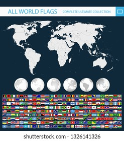 All Vector World Flags and World Map with globes - Ultimate collection of All World Flags - All flags are organized by layers with each flag on a single layer properly named.