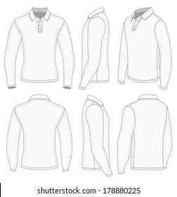 All views men's white long sleeve shirt design templates (front, back, half-turned and side views). No mesh. Redact color very easy.