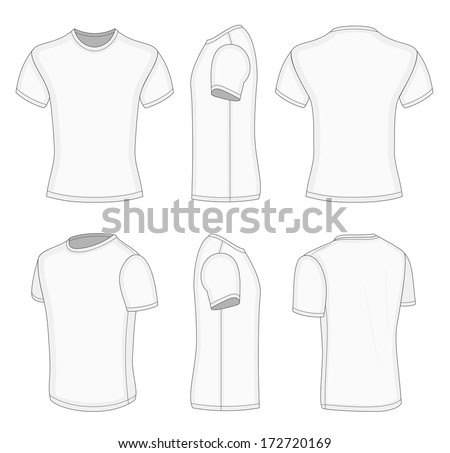 3ca752094 All views men's white short sleeve t-shirt design templates (front, back,  half-turned and side views). Vector illustration. No mesh. Redact very easy!