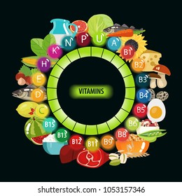 All Vitamins in Food. Natural organic food with vitamins on a black background. The Basics of Healthy Eating