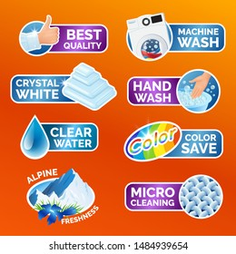 All washing clothes stickers set - micro cleaning, clear water, best quality, crystal white, alpine freshness, color, machine and hand wash Clean laundry, fibers, water drop, thumbs up icons, vector