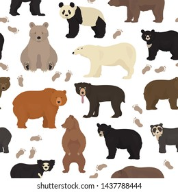 All world bear species in one set. Bears seamless pattern. Vector illustration