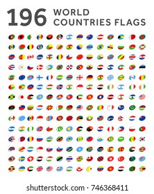 All world countries vector illustration ellipse flags set