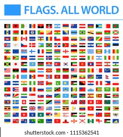 All World Flags - New 2018 - Vector Rectangle Flat Icons. New versions of Afghanistan and Mauritania flags and Additional List of Other States