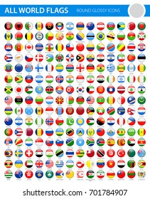 All World Flags - Round Glossy Vector Icons