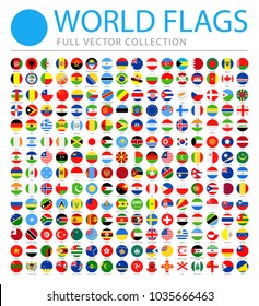 All World Flags Set - New Additional List of Countries and Territories - Vector Round Flat Icons
