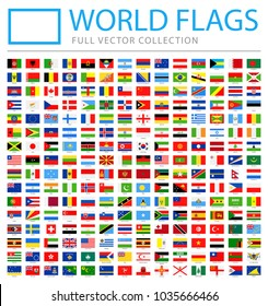 All World Flags Set - New Additional List of Countries and Territories - Vector Rectangle Flat Icons