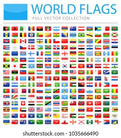 All World Flags Set - New Additional List of Countries and Territories - Vector Rectangle Glossy Icons