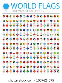 All World Flags Set - New Additional List of Countries and Territories - Vector Round Pin Flat Icons