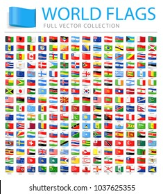 All World Flags Set - New Additional List of Countries and Territories - Vector Tag Flat Icons
