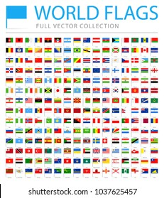All World Flags Set - New Additional List of Countries and Territories - Vector Pin Flat Icons