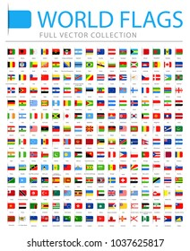 All World Flags Set - New Additional List of Countries and Territories - Vector Bookmark Flat Icons