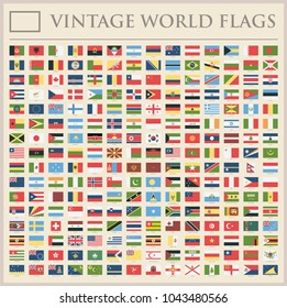 All World Flags Set - New Additional List of Countries and Territories - Vector Vintage Flat Icons