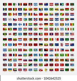All world flags of the world. Vector world flags. World flag set. Waving vector illustration