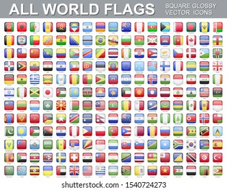 All world flags - vector set of square icons. Flags of all countries and continents