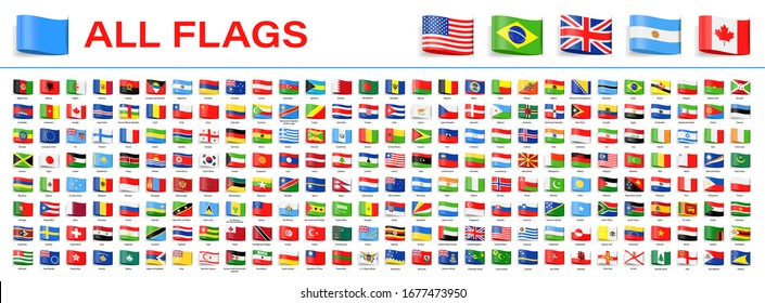 All World Flags - Vector Tag Label Flat Icons. 2020 versions of flags