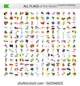 All World Vector Contour Country Flags - Collection