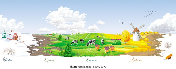 All the year round - ecological concept - seamless landscape with four seasons  of the year at a rural panorama with fields, cows, windmill and apiary. For packs, posters, banners and Calendars.