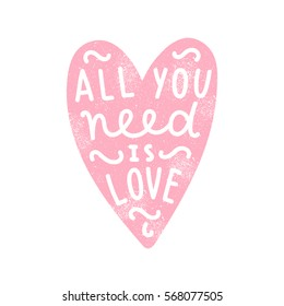 All you need is love. Heart silhouette isolated on white background. Hand written text.