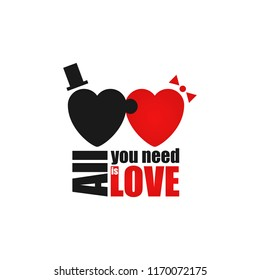 All You Need is Love inscription. Funny motivation poster with black and red hearts puzzle  man and woman have sex. idea for banner happy valentine day. Phrase for poster photo frame