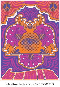 All you need is Love.  Vintage Style Psychedelic Art Poster 1960s, 1970s Stylization, Colorful Background, Eye Triangle, Flowers, Peace Symbol