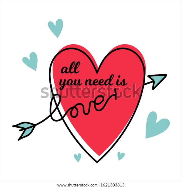 All you need is love. Vintage vector illustration. heart with quote and arrow shaped word