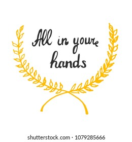 All in your hands. Retro template for web design. Vector illustration.