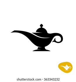 Alladin lamp silhouette. Simple black vector symbol.