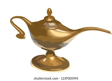 Alladin lamp silhouette. Simple vector symbol, vector genie magic aladdin lamp, alladin golden lantern, arabian, persian