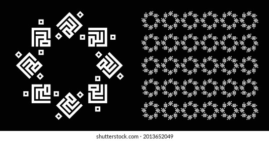 Allah name in Arabic kufi style with pattern design, isolated on black background