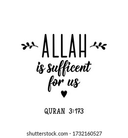 Allah is sufficient for us. Ramadan lettering. Can be used for prints bags, t-shirts, posters, cards. Religion Islamic quote