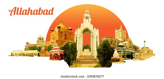 ALLAHABAD city colored watercolor painting illustration