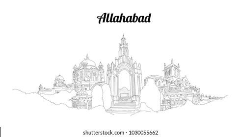 ALLAHABAD city panoramic view hand drawing sketch illustration
