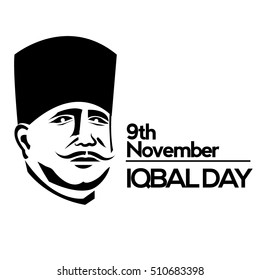 Allama Iqbal (National Poet of Pakistan) birthday celebration background.vector