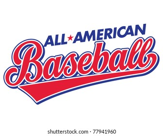 All-American Baseball Vector Lettering